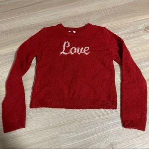 Tahari Girls Pearl and Rhinestone Love Sweater